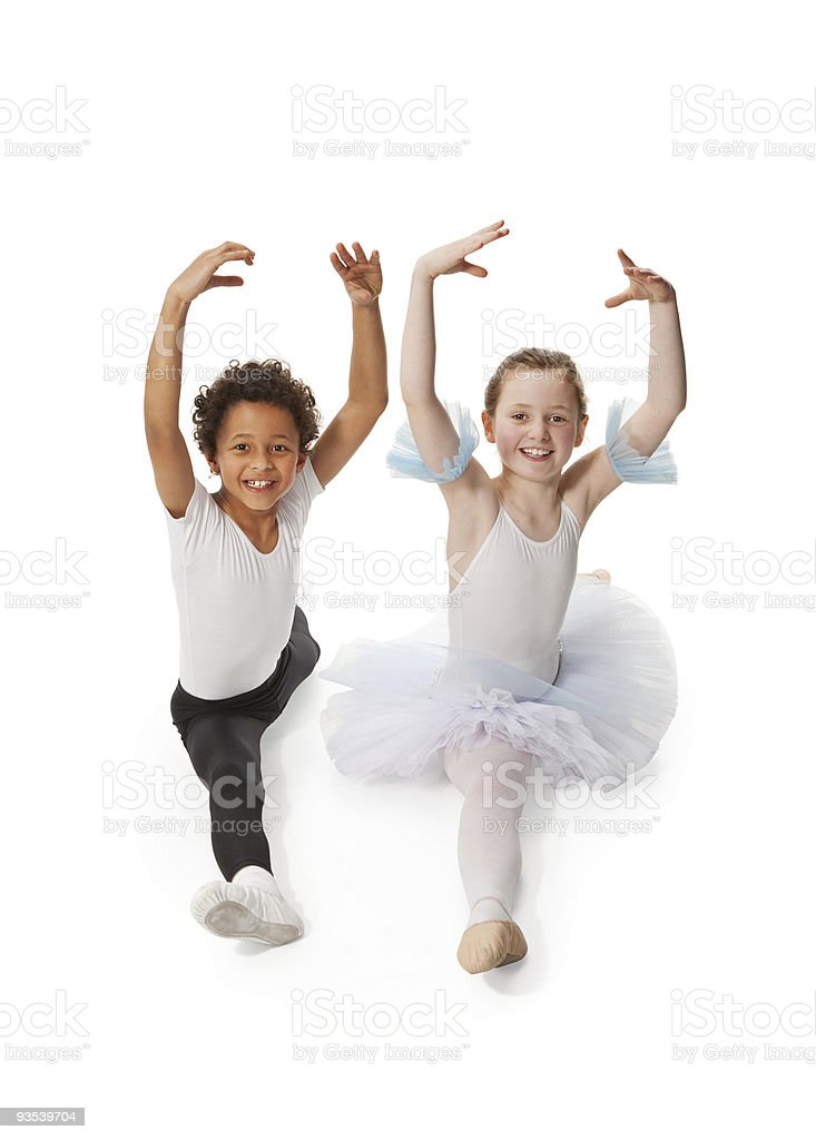 interracial  children dancing together, isolated on white backgr royalty-free stock photo