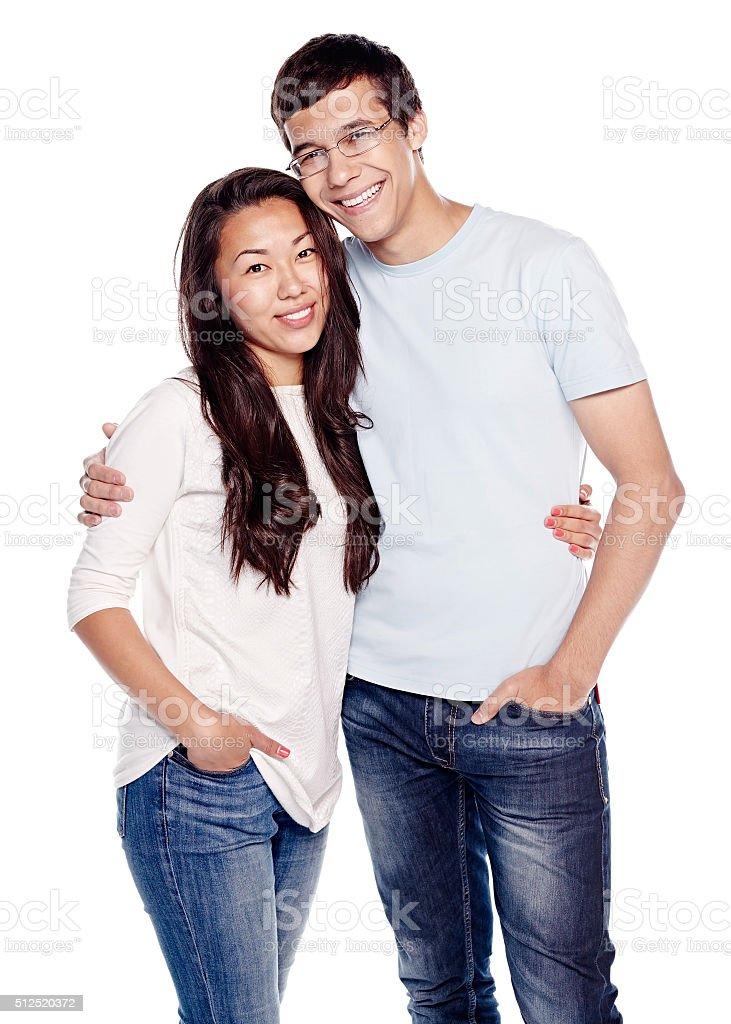 Interracial couple in love stock photo