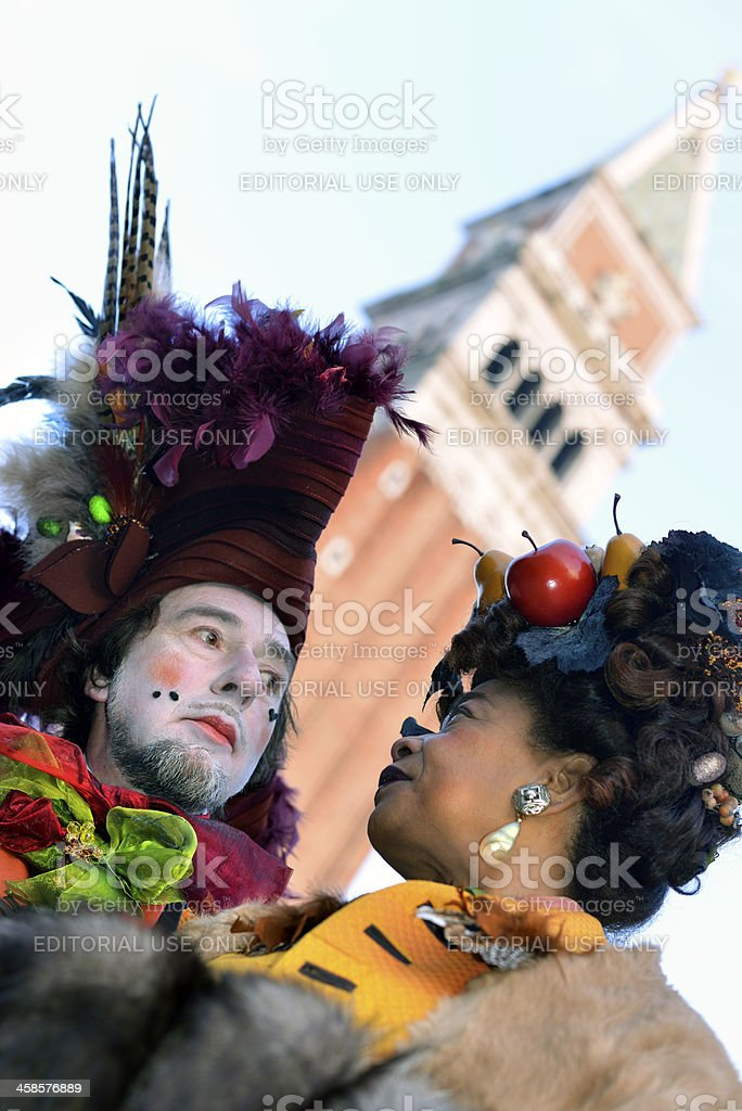 Interracial Couple in San Marco Square Venice Carnival, Italy, Europe royalty-free stock photo