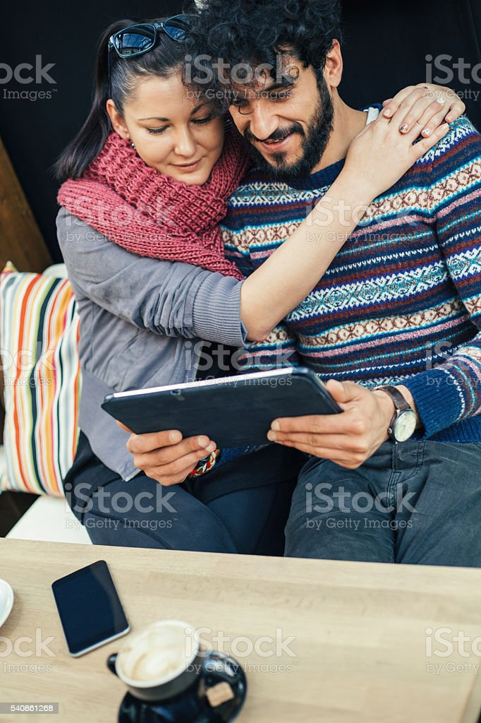 Interracial couple leisure time stock photo
