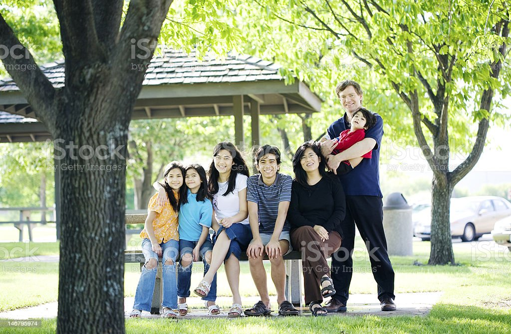 Interracial Family together on picnic bench stock photo