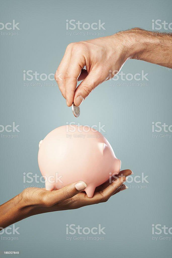 Interracial Savings stock photo