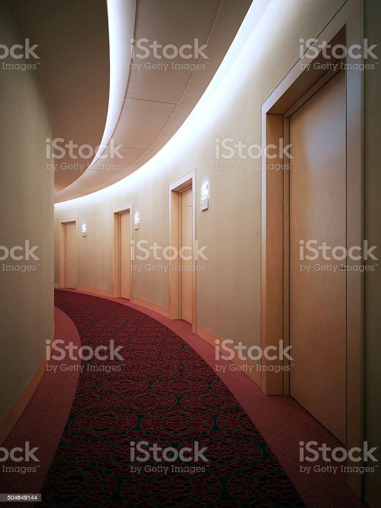 Interrior of bright hotel complex, corridor. stock photo