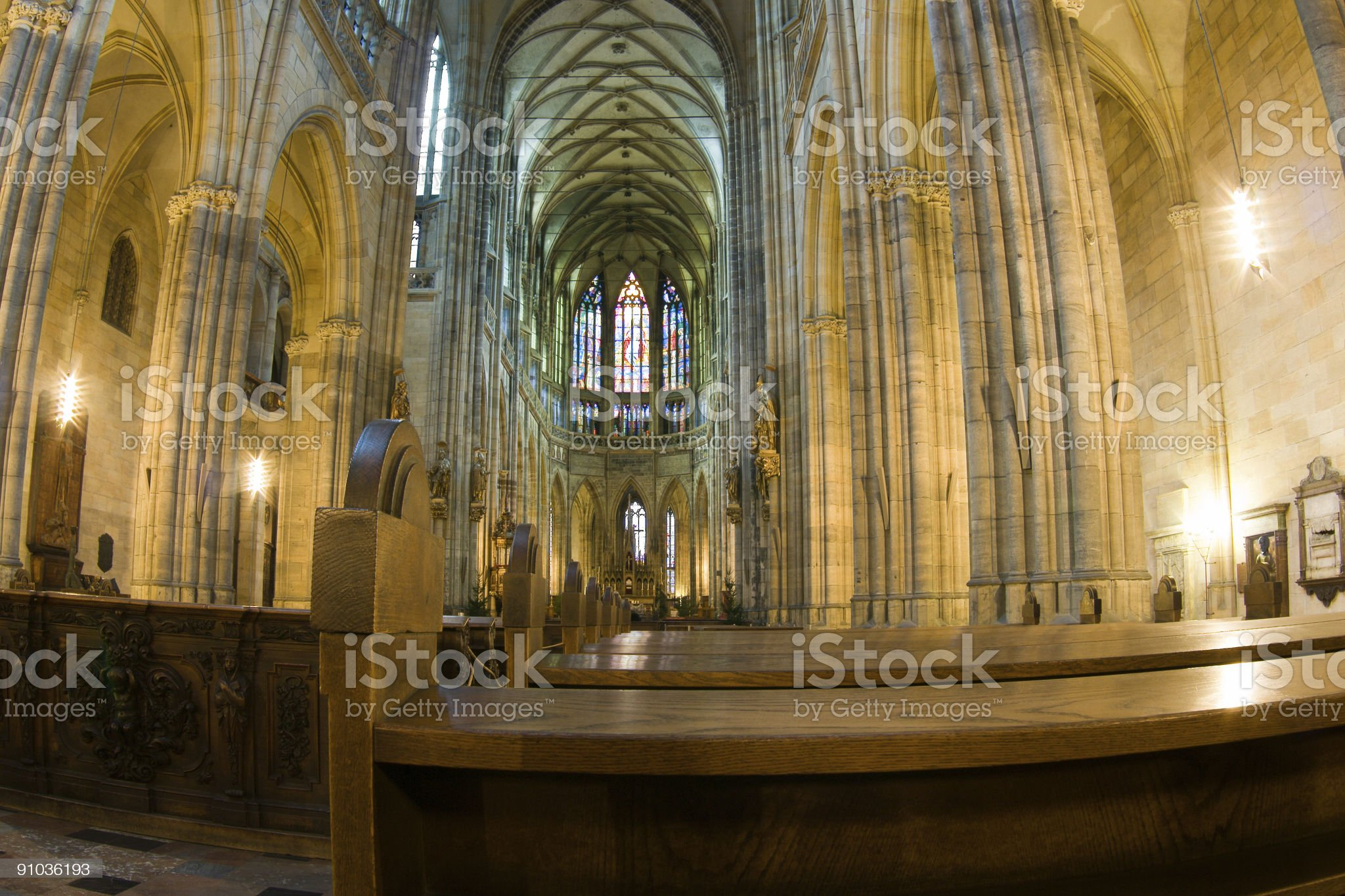 Interrior of St. Vitus Cathedral royalty-free stock photo