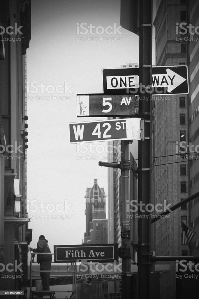 NY Intersection - 5th Ave. and 42nd St. royalty-free stock photo