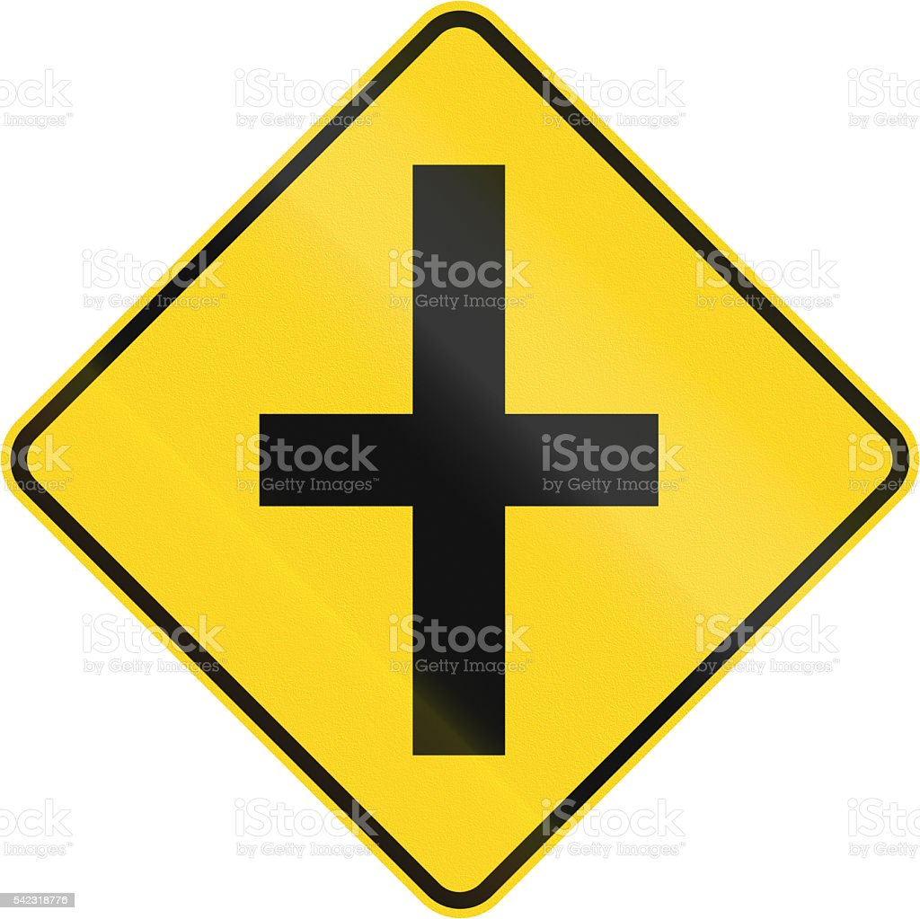 Intersection Ahead In Canada stock photo
