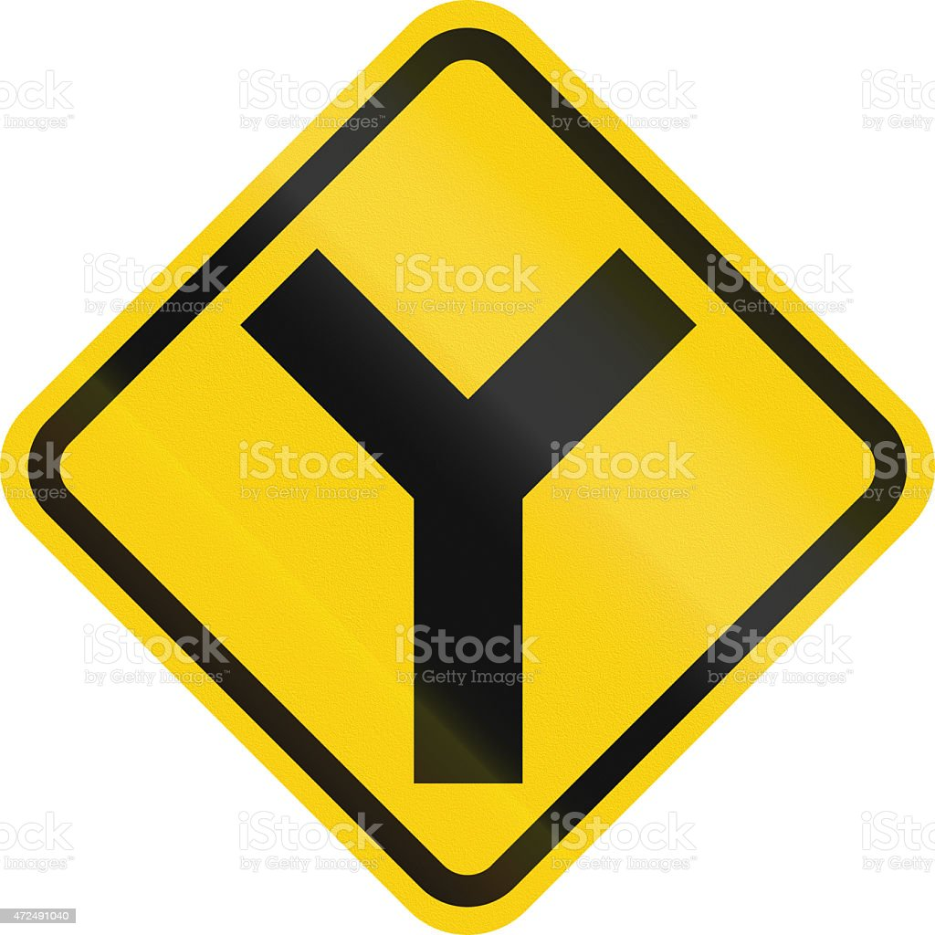 Intersection Ahead In Colombia stock photo
