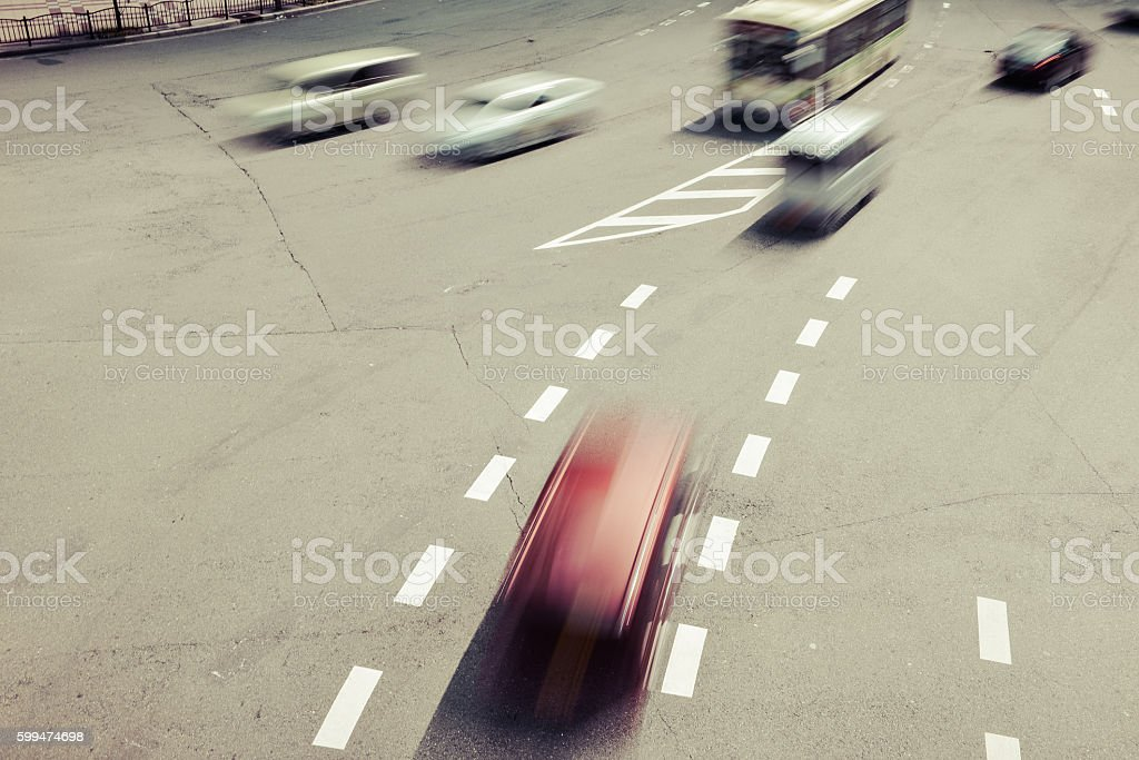 Intersection and car stock photo