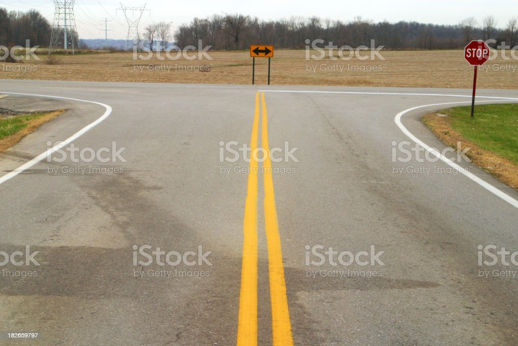 T Intersection Crossroad royalty-free stock photo