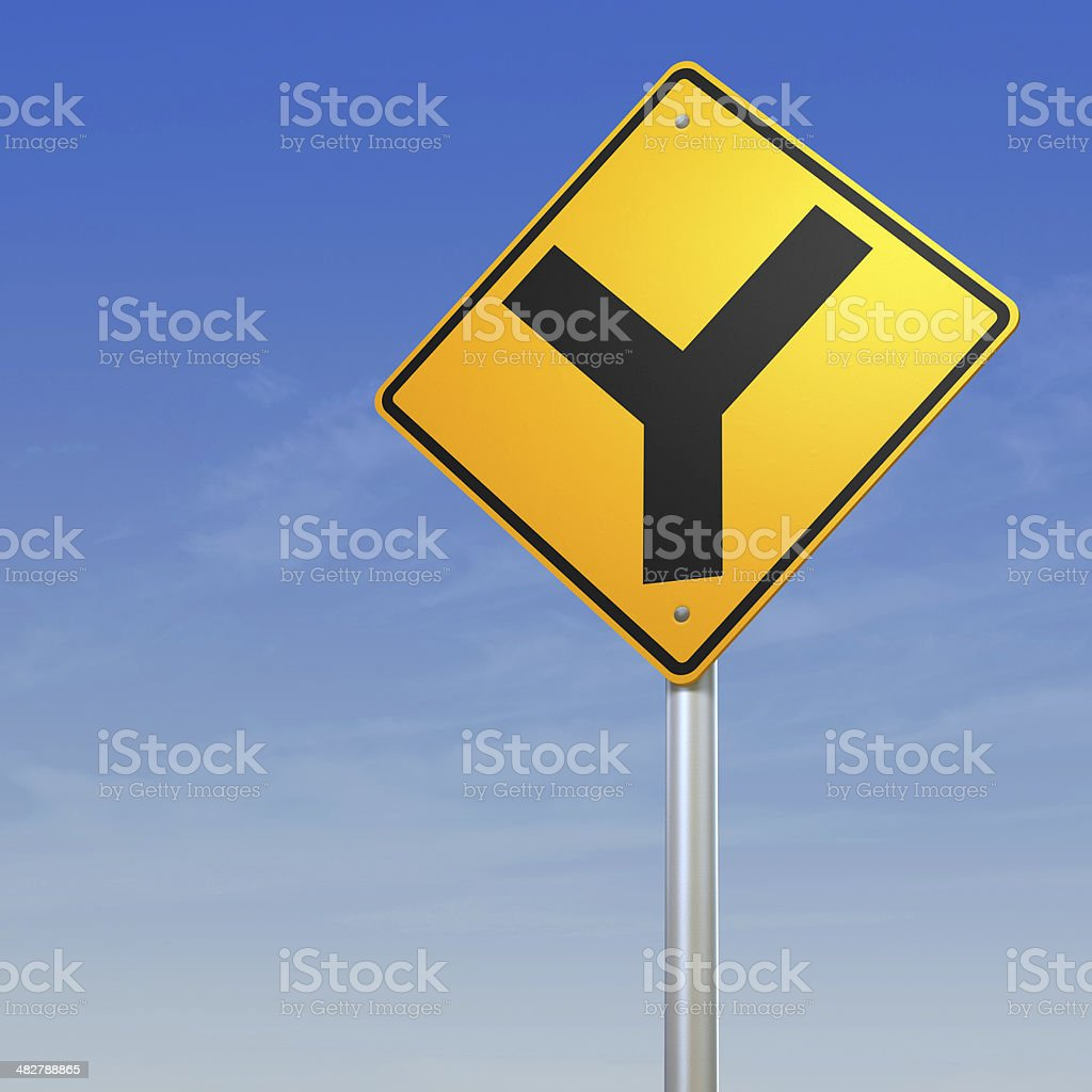 Y intersection forked road warning sign royalty-free stock photo