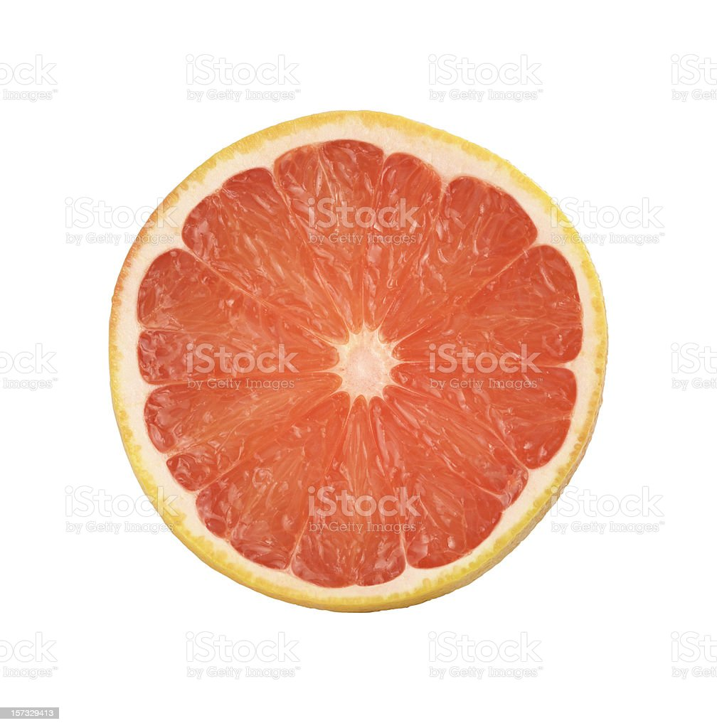 Intersection of a grapefruit on white background stock photo