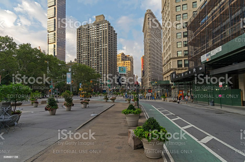 Intersection of Broadway and Fifth Avenue stock photo