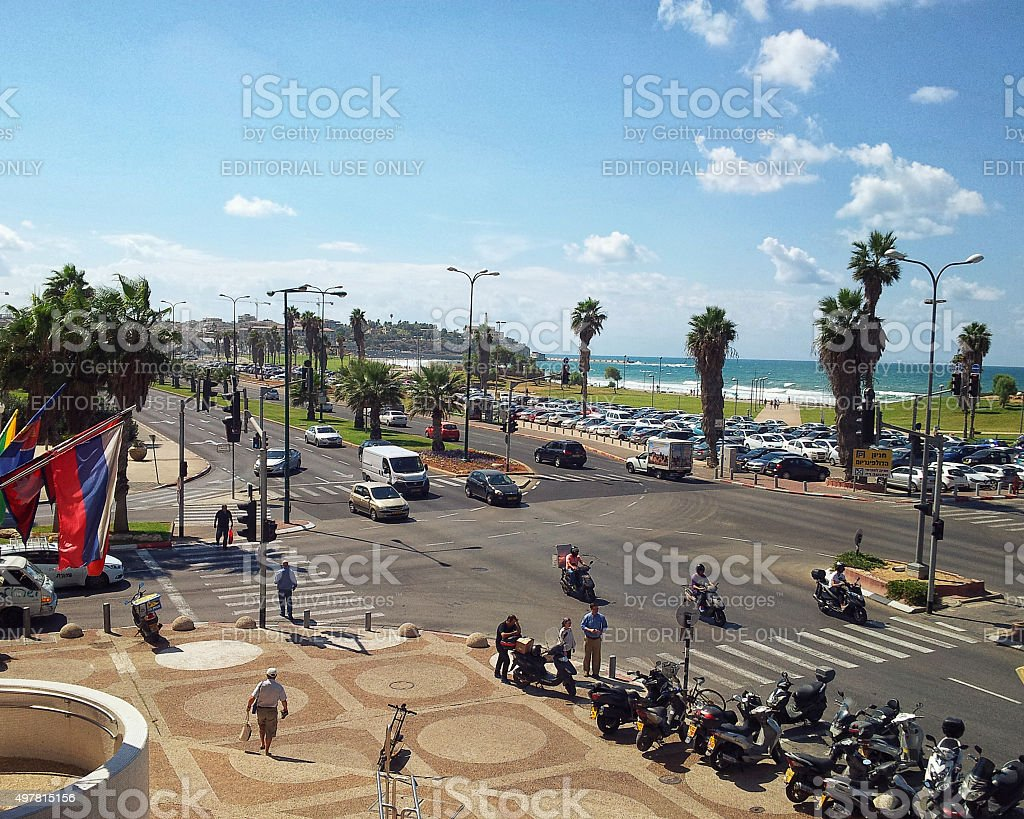 Intersection of Kaufmann and Shenkar streets stock photo