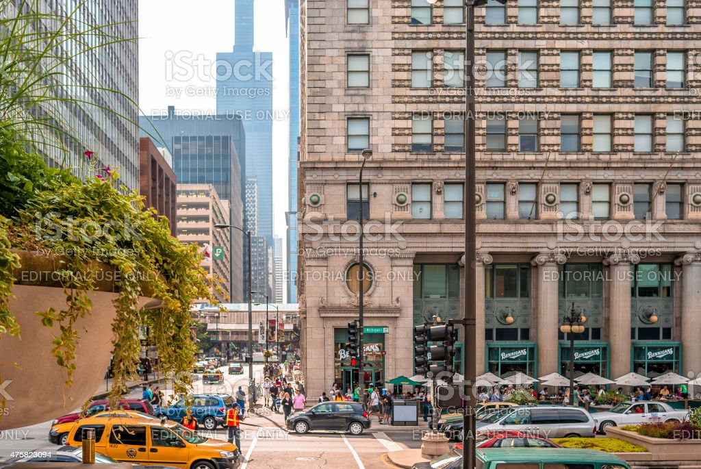 Intersection of Michigan Ave and Adams St, Chicago stock photo