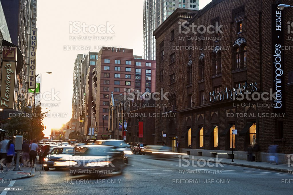 Intersection of Ohio and Wabash stock photo