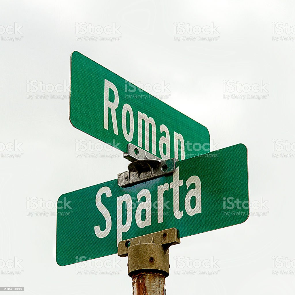 Intersection of Roman and Sparta Street stock photo