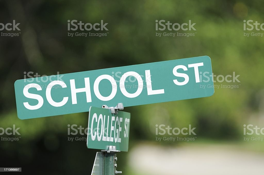 Intersection of school and college streets royalty-free stock photo