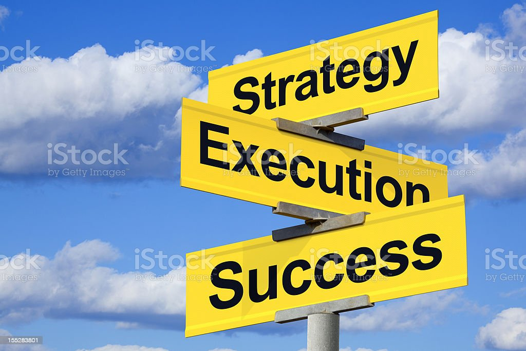 Intersection of Strategy, Execution, and Success stock photo