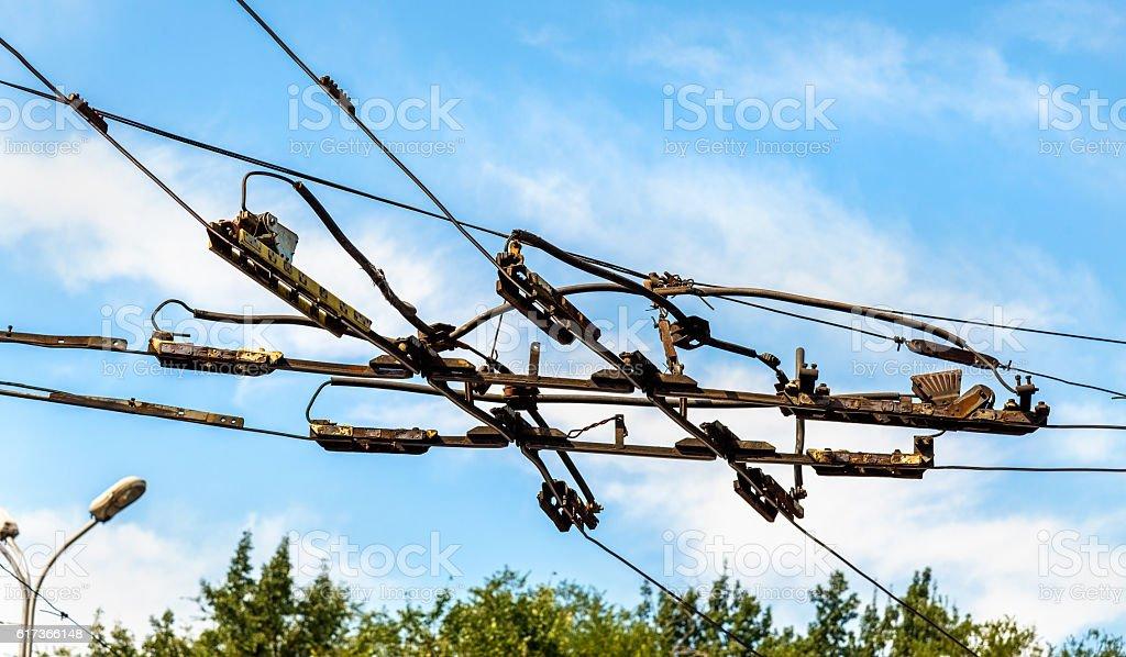 Intersection of trolleybus overhead lines in Almaty, Kazakhstan stock photo