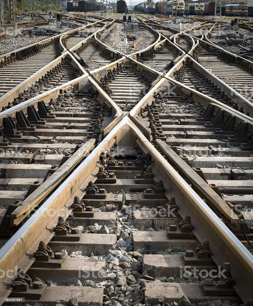 Intersection point of multiple railroad tracks stock photo