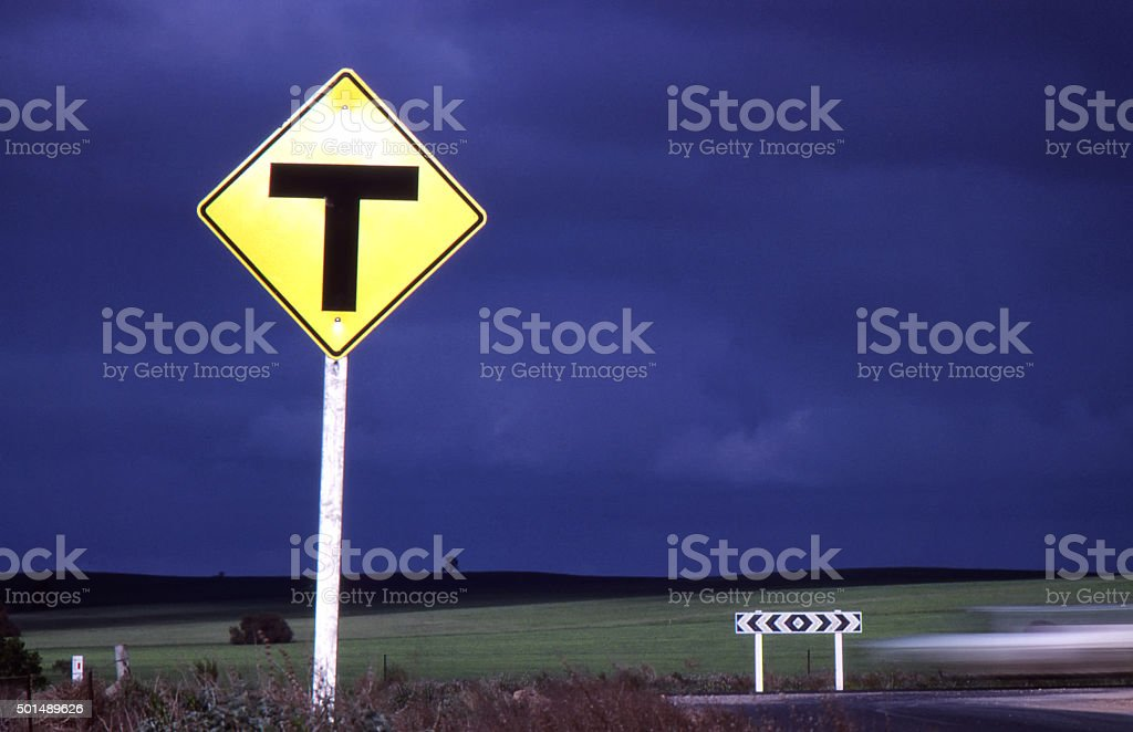 T Intersection Road Junction Sign Decision Australian stock photo