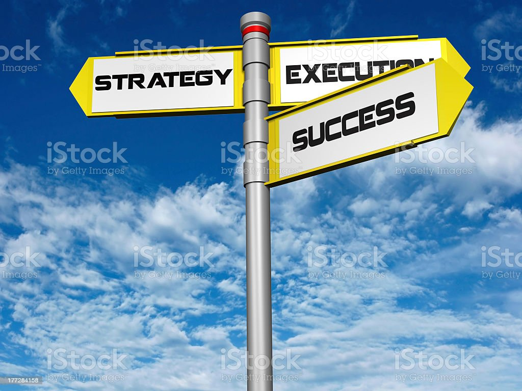 Intersection sign of Strategy, Execution, and Success stock photo