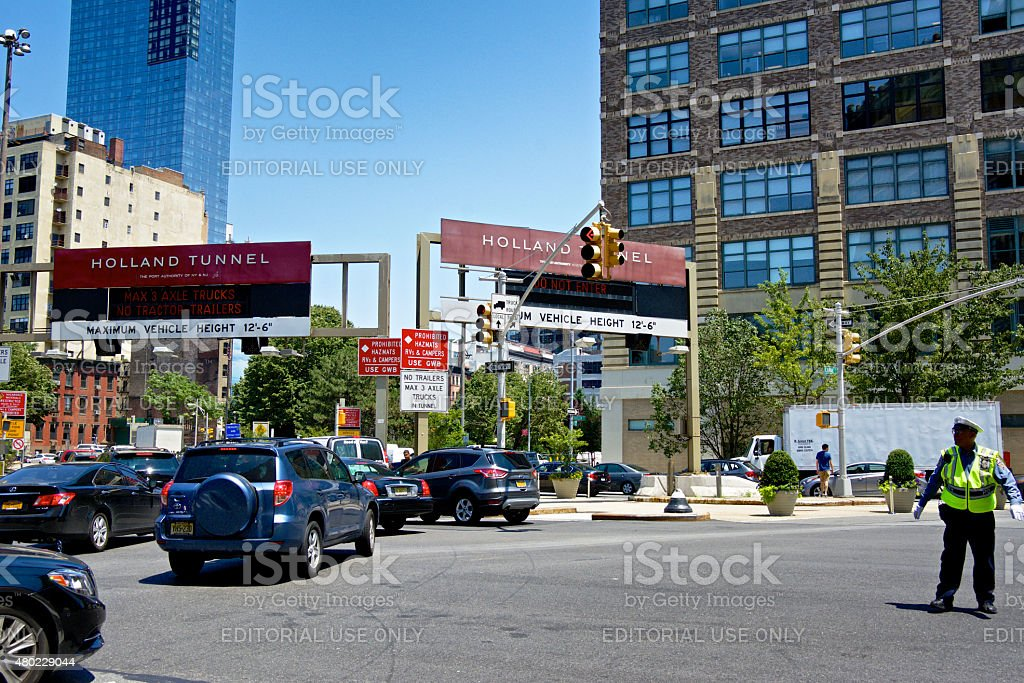 NYC Intersections, Canal, Hudson Streets, Holland Tunnel, Lower Manhattan, NYC stock photo