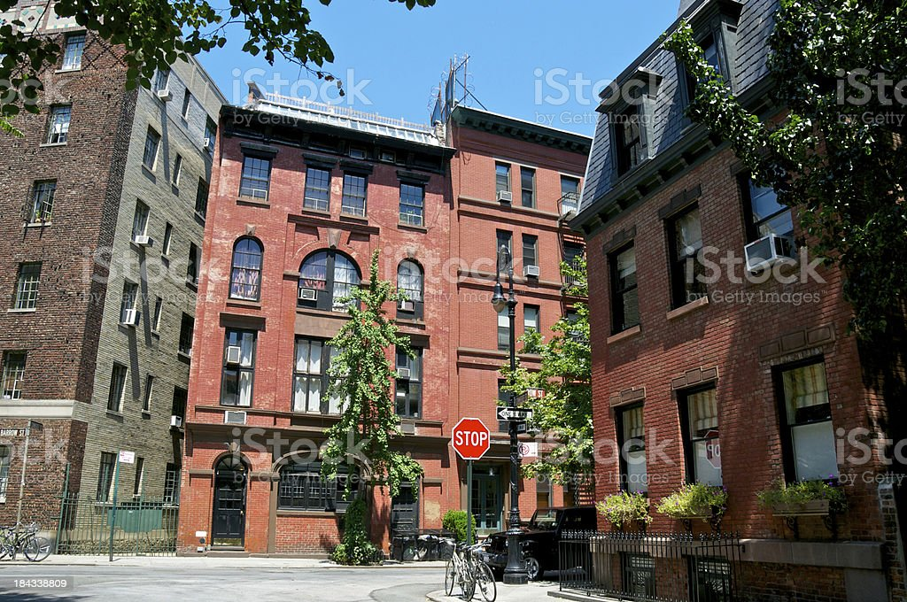 NYC Intersections - Commerce and Barrow Streets, Greenwich Village stock photo
