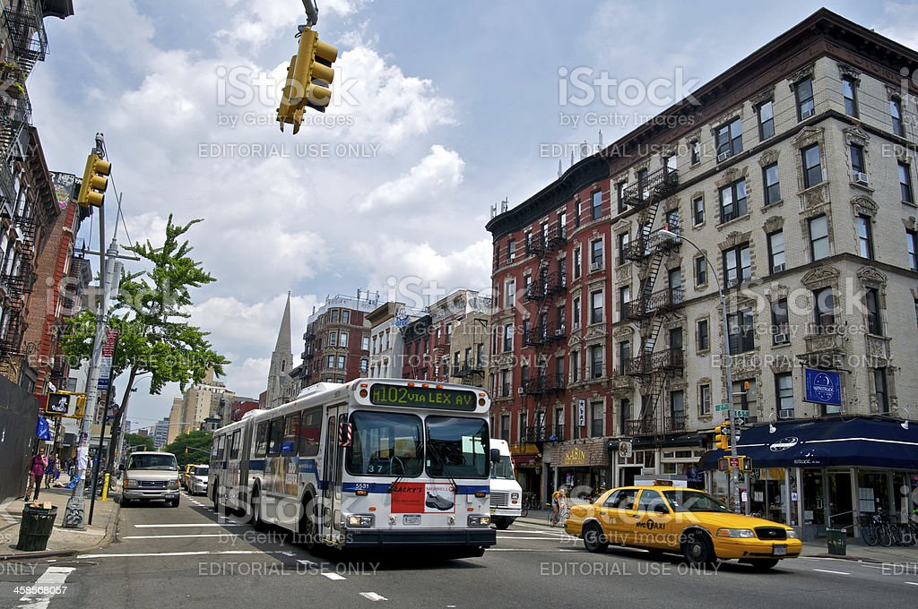 NYC Intersections, E.5th Street & 2nd Ave, East Greenwich Villag stock photo