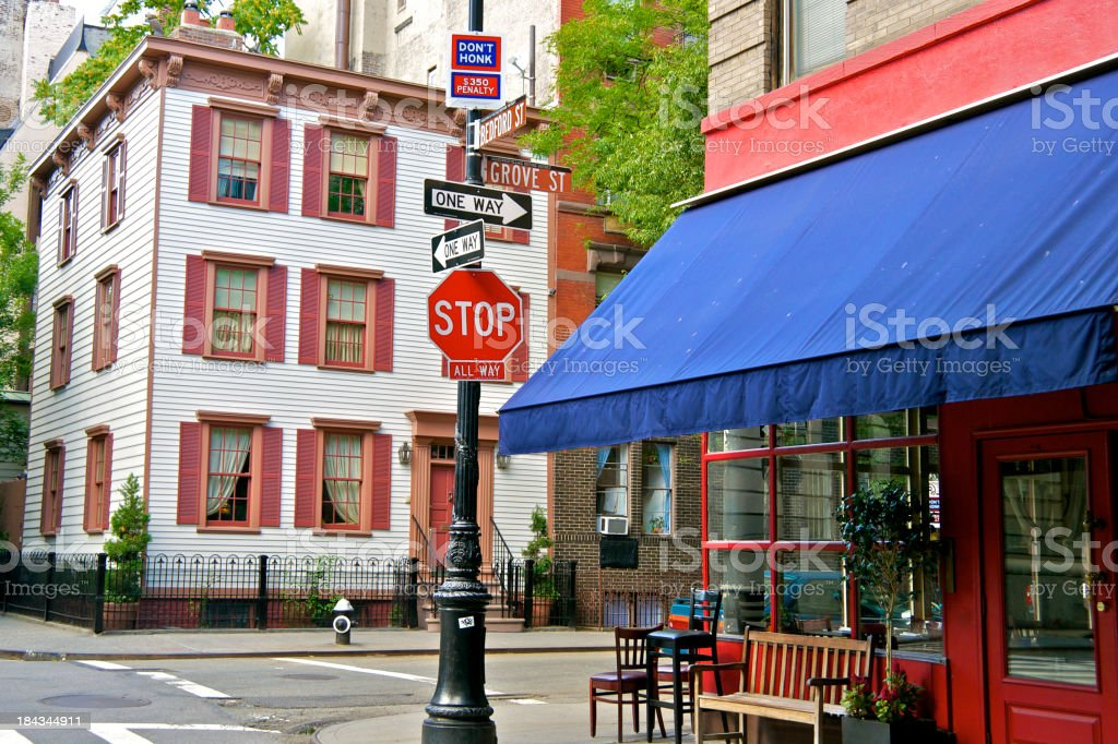 NYC intersections, Grove and Bedford Streets, West Greenwich Village, Manhattan stock photo
