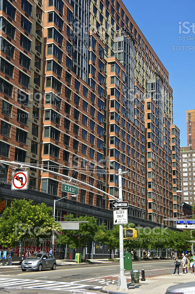 NYC Intersections, High Rise, 34th Street & 2nd Ave., Manhattan royalty-free stock photo