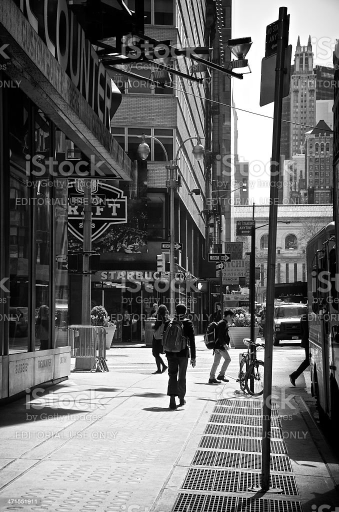 NYC Intersections, Pedestrians, 41st Street & Broadway, Midtown Manhattan stock photo