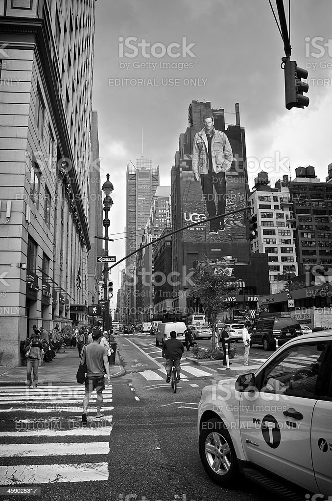 NYC Intersections, Pedestrians at 33rd Street & 8th Ave., Manhattan stock photo
