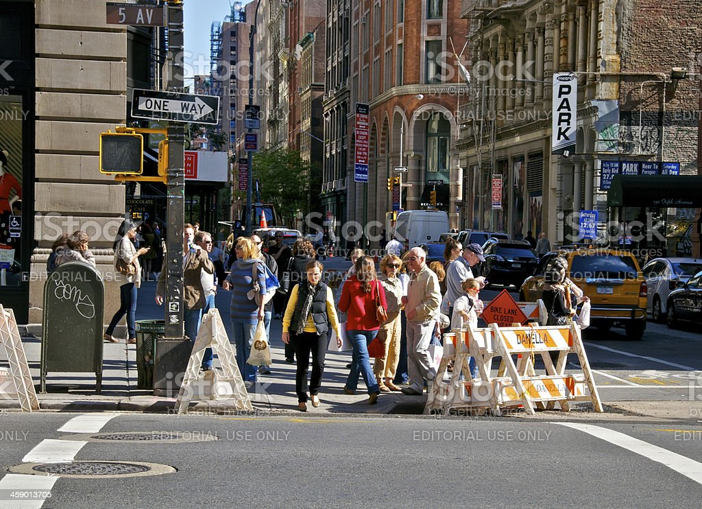 'NYC Intersections, pedestrians at E.21st Street & 5th Avenue, Ma' stock photo