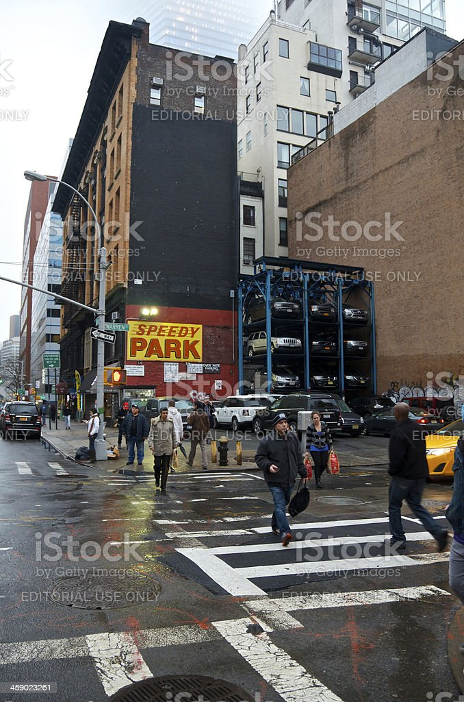 NYC Intersections, Pedestrians at West Broadway & Warren Street, Manhattan stock photo
