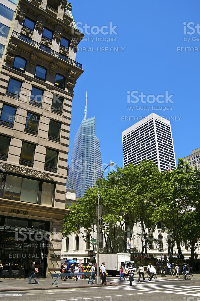 NYC Intersections, Pedestrians, Cityscape, 5th Ave & W.40th Street, Manhattan royalty-free stock photo