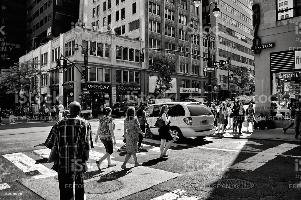 NYC Intersections, Pedestrians, Lexington Ave & E.41st. Street, Manhattan stock photo