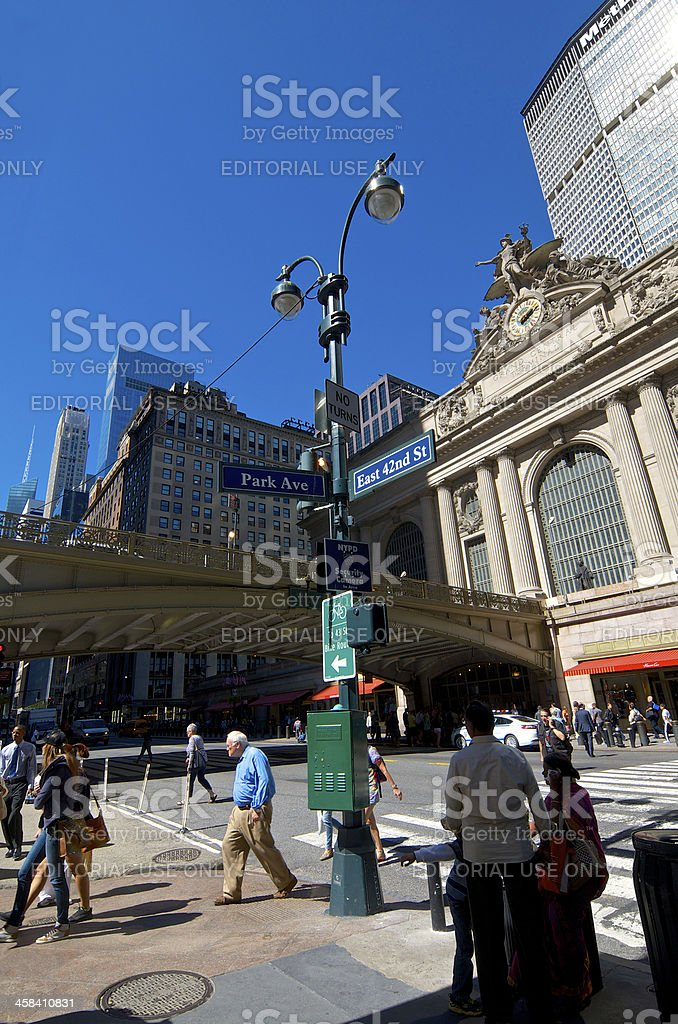 NYC Intersections, Pedestrians, Park Ave & E.42nd Street, Midtown Manhattan royalty-free stock photo