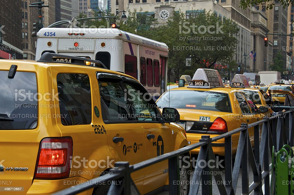 NYC Intersections, Taxis at 34th Street & 6th Ave., Manhattan stock photo