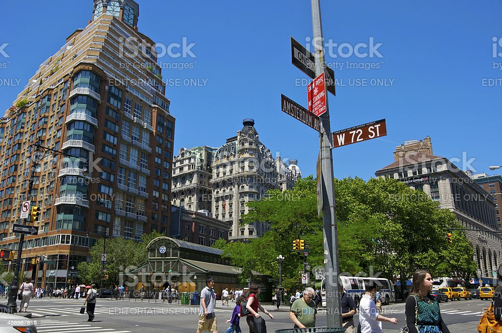 NYC Intersections, W.72nd St & Amsterdam Avenue, Manhattan stock photo