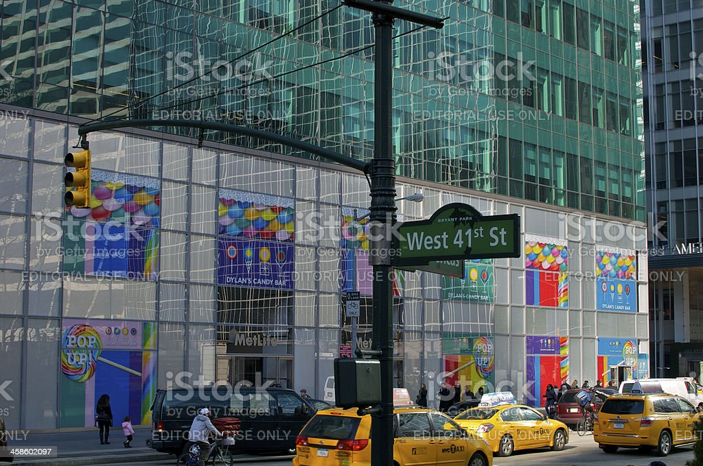 NYC Intersections, West 41st St & 6th Ave Street scene stock photo
