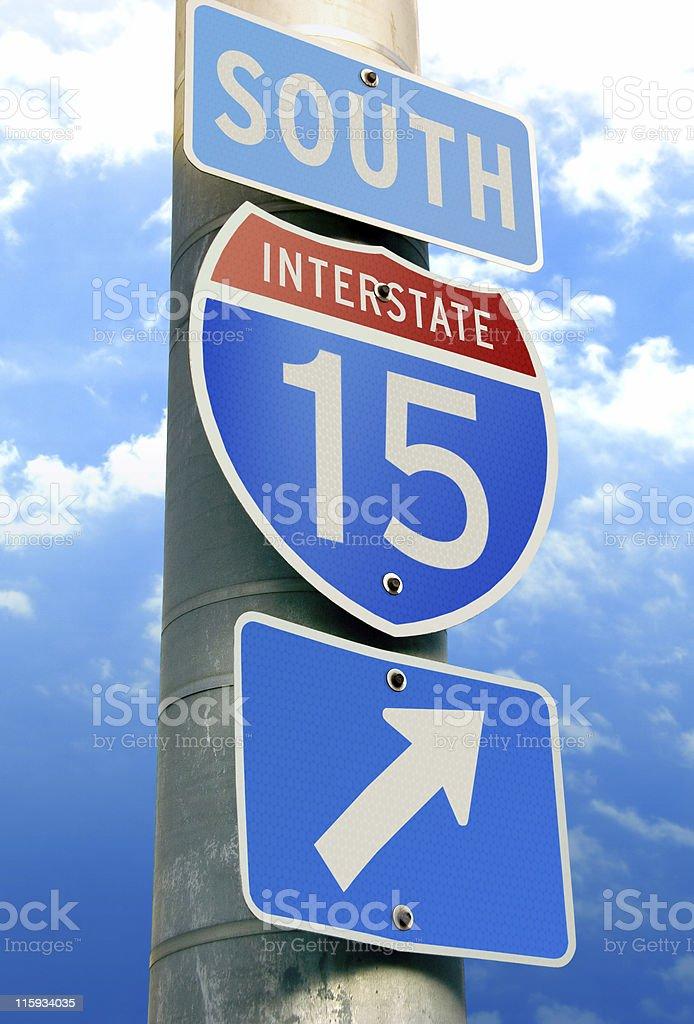 Interstate 15 Arrow Sign stock photo