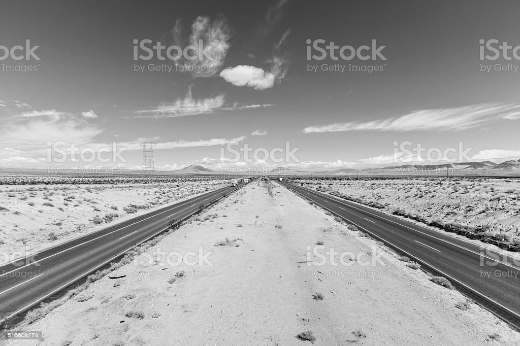 Interstate 15 between Los Angeles and Las Vegas Black and White stock photo