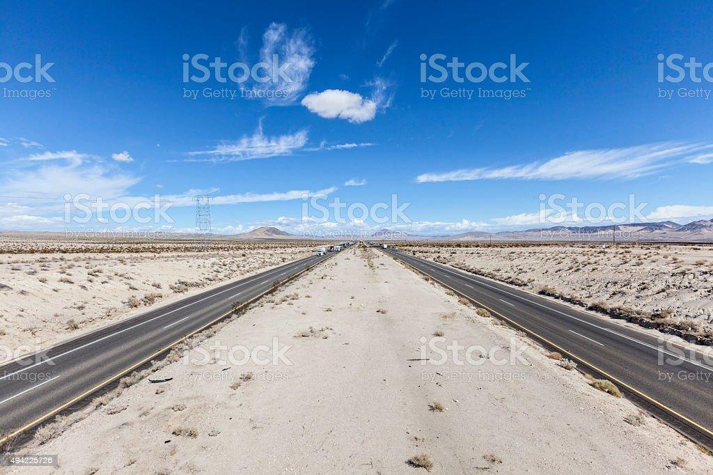 Interstate 15 between Los Angeles and Las Vegas stock photo