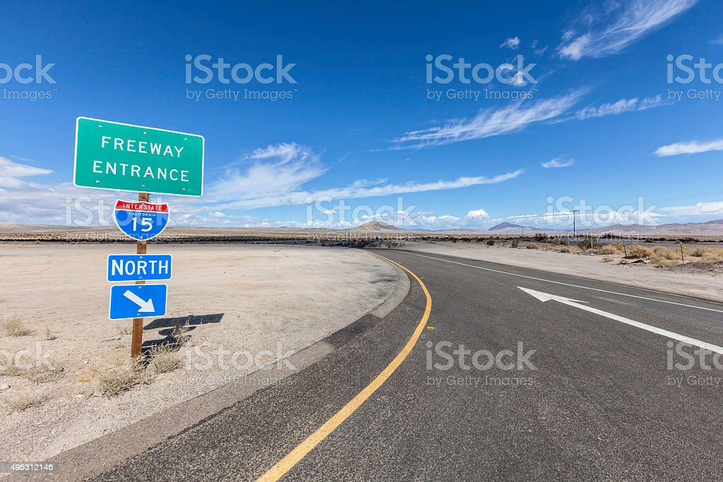 Interstate 15 Desert Freeway Entrance in the Mojave National Preserve stock photo
