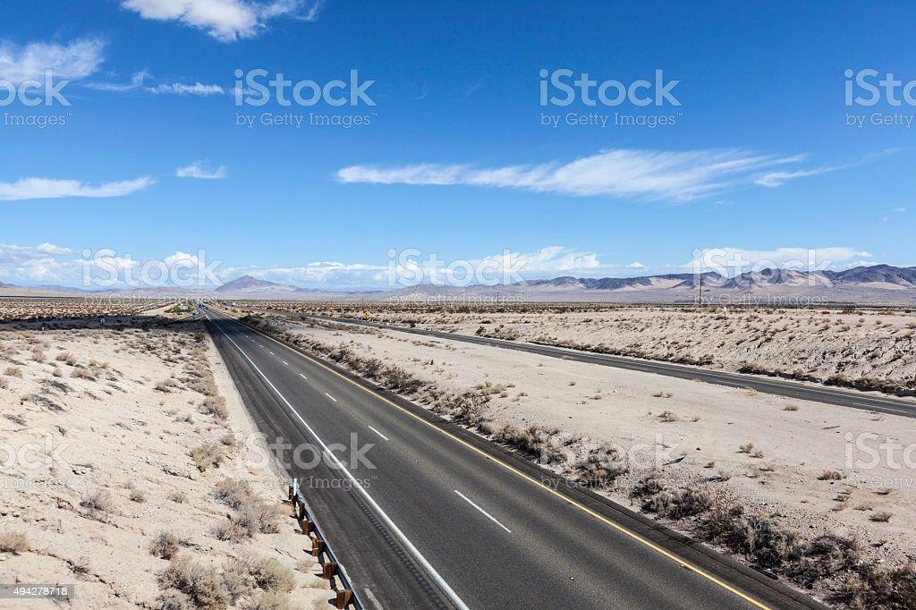Interstate 15 Freeway in the Mojave Desert stock photo