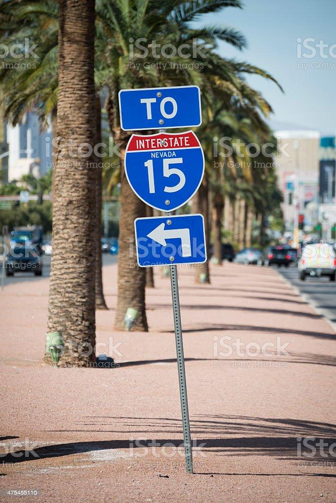 Interstate 15 sign in Las Vegas Nevada stock photo