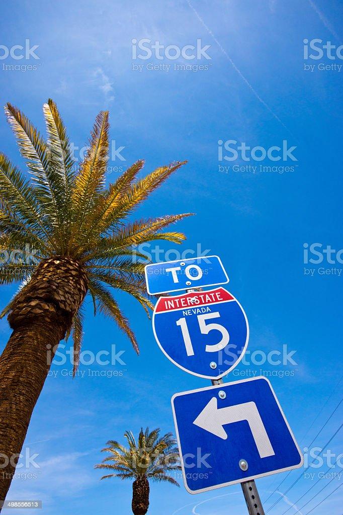 Interstate 15 sign in Las Vegas stock photo