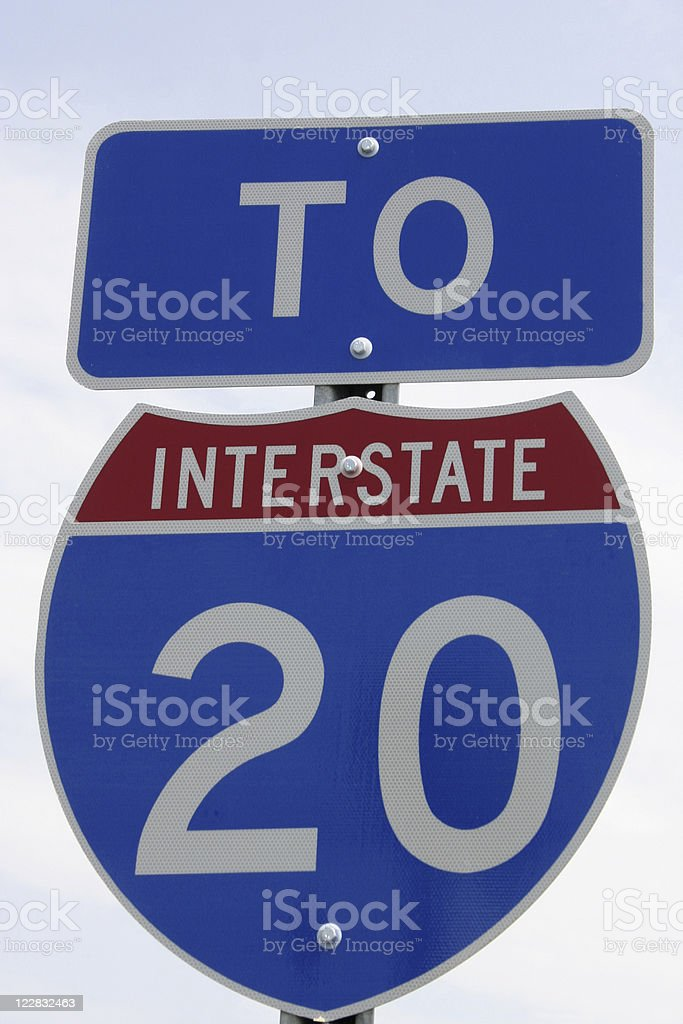 USA - Interstate 20 Highway Sign royalty-free stock photo
