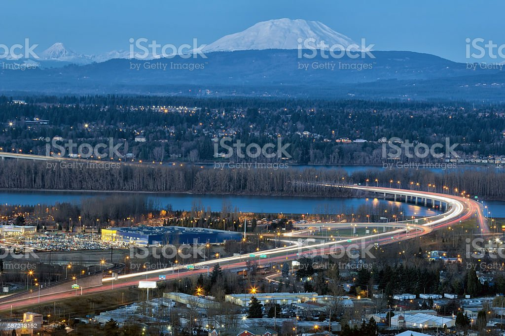 Interstate 205 Freeway over Columbia River Blue Hour stock photo